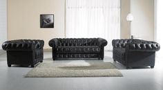 Divani Casa Paris-2 Black Tufted Leather Sofa Set
