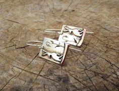 Hare Earrings, Sterling silver, copper, handmade earrings, moongazing hare jewellery, Bunny earrings, rabbit earrings, drop earrings, hares