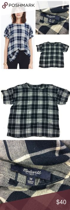 """Madewell Oversized Tee in Emporia Plaid A clean modern plaid tee in a soft double-faced cotton. Roll the sleeves to reveal the buffalo check on the flip side.    Size: Medium Color: Navy and White  Style: C9816 MRSP: $79.50 Neckline: Classic  Sleeves: Short Sleeve Materials: 100% Cotton  Measurements (approximate) Length: 25"""" Underarm to underarm (laying flat): 22""""  Condition: EUC  Note: This item is cross-listed on another platform. If unavailable at time of purchase you will be refunded…"""