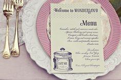 "Alice in Wonderland bridal shower theme. I love that is says ""welcome to wonderland"" Tea Party Wedding, Wedding Menu, Wedding Ideas, Dream Wedding, Wedding Inspiration, Shower Inspiration, Hair Inspiration, Disney Bridal Showers, Pandora"