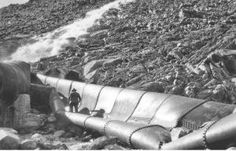 Aftermath of bombing aqueduct in Owens Valley, 1927. Five successful attacks have taken place over the aqueduct's history, most recently in 1976.