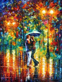 As românticas pinturas impressionistas de casais sob a chuva de Leonid Afremov