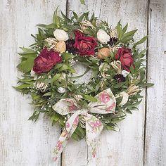 Easter wreath, natur, roses KvetinovyObchodik / Veľkonočný veniec s ružami a mašľou