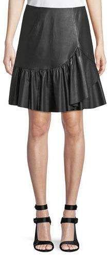 Rebecca Taylor Vegan Leather Faux-Wrap A-Line Skirt A Line Skirts, Mini Skirts, Vegan Clothing, Flowing Dresses, Vegan Fashion, Rebecca Taylor, Striped Knit, Vegan Leather, Ball Gowns