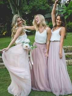 Gorgeous Two Piece Pink Tulle Long Bridesmaid Dress with White Top