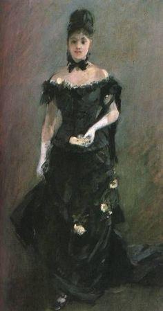 """""""la figure d'un femme (avant le théâtre"""", huile de Berthe Morisot (1841-1895, France)"""