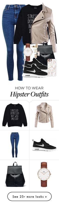 """""""today's look 25/09/16"""" by smirnova-varya on Polyvore featuring Topshop, Sans Souci, Sole Society, NIKE, Daniel Wellington and Casetify"""