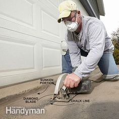 How to Fix a Sinking Driveway: The first step in fixing a sinking driveway is to cut out the sunken section with a saw. http://www.familyhandyman.com/smart-homeowner/diy-home-improvement/how-to-fix-a-sinking-driveway/view-all