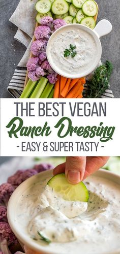 Homemade ranch dressing is SO easy to make! This is the BEST vegan ranch dressing you will have, definitely a must try! #vegan #sweetsimplevegan #veganranch #dressing #glutenfree #easy #appetizers #sides #salads #homemade #party