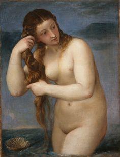 """Titien - """"Vénus anadyomène"""" (1525) - La Vénus sortie des eaux ou """"Vénus anadyomène"""" (du grec ancien ἀναδυομένη, """"surgie vers le haut"""", c'est-à-dire """"sortie des eaux"""" ou """"surgie des eaux"""") est un thème artistique courant de la peinture occidentale."""