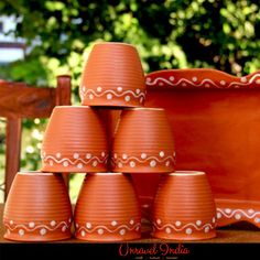 3dec2945d66 Unravel India Earthen Ceramic Kulhad with Ceramic Tray(Set of 6)  Teacups