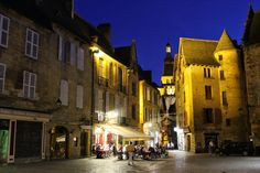 Evening on the town square of Sarlat, France