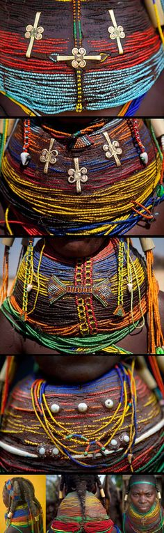 Africa | Details from a Vilanda necklace worn by married Mwila (Mwela, Mumuhuila) women of southern Angola | ©Eric Lafforgue