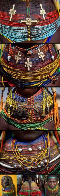 Africa | Details from a Vilanda necklace worn by married Mwila (Mwela, Mumuhuila) women of southern Angola | ©Eric Lafforgue