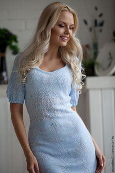 """Купить Платье """"Голубые воды"""" - голубой, однотонный, вязание на заказ, вязаное платье, купить подарок"""