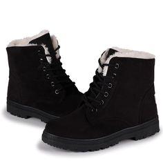 f2dbd06d2 Susanny Suede Flat Platform Sneaker Shoes Plus Velvet Winter Women's Lace Up  Cotton Snow Boots Warm