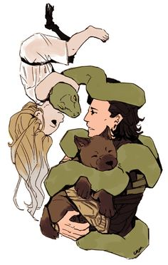 Loki cuddles his adorable babies. They're missing Sleipnir, Vali and Navri...