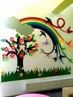 Classroom walls - 16 Decorating Ideas to Make A Cheerful and Fun Classroom Decoration Creche, Board Decoration, Class Decoration, School Decorations, Wall Decorations, Classroom Wall Decor, Classroom Walls, Preschool Classroom, Classroom Ideas