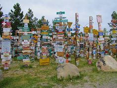 Sign Post Forest in Watson Lake, Yukon Territory, Canada along the Alaska Highway --- okay, I've seen these but why not again? Yukon Alaska, Yukon Canada, O Canada, Alaska Travel, Canada Travel, Nassau, The Places Youll Go, Places To Go, Alaska Highway