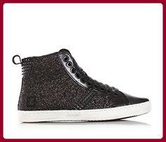 D.A.T.E. - Schwarze Sneakers mit Schnürsenkel, aus Leder und Glitzern, seitlich ein Reißverschluss, Mädchen-30 - Sneakers für frauen (*Partner-Link)