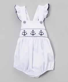 Stellybelly White Pique Anchor Ruffle Bubble - Infant & Toddler | zulily