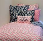 Pink & White Chevron Designer Dorm Room Bedding Set