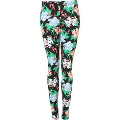 Tropical Floral Print Leggings ❤ liked on Polyvore