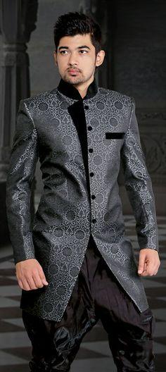 12939, IndoWestern Dress, Jacquard, Valvet, Patch, Black and Grey Color Family