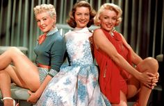 Bettie Grable, Lauren Bacall and Marilyn Monroe in their roles as models and husband catchers in How to Marry a Millionaire, 1953.