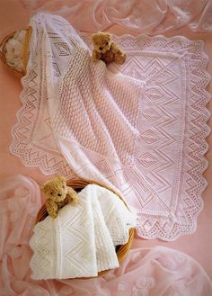 Knitting Pattern Lacy Heirloom Shawls 3ply and 4 ply by carolrosa