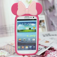 Style Candy Girl Mickey 3D Bow Case Cover For Samsung Galaxy i9300 S III S3 Lady