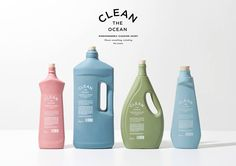 Clean The Ocean - Biodegradable Cleaning Agent on Packaging of the World - Creative Package Design Gallery Bio Packaging, Bottle Packaging, Cosmetic Packaging, Beauty Packaging, Brand Packaging, Design Packaging, Product Packaging, Design Poster, Label Design