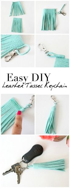 Create a quick and easy DIY leather tassel keychain that can be removed and added to a clutch, handbag, or more! Create a quick and easy DIY leather tassel keychain that can be removed and added to a clutch, handbag, or more! Diy Leather Tassel Keychain, Keychain Diy, Leather Jewelry, Diy Tassel, Keychain Ideas, Diy Leather Gifts, Diy Leather Clutch, Leather Keyring, Leather Crafts