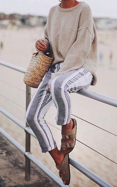 Basic Summer Outfits To Inspire You Sommeroutfits WEBSTA @ Andicsinger - Bondi Comfort Mit Striped Pants ✔️ // . Spring Summer Fashion, Spring Outfits, Winter Outfits, Autumn Fashion, Casual Outfits, Cute Outfits, Summer Night Outfits, Emo Outfits, Spring Style