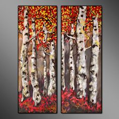 Modern house art print, Autumn Birch Trees acrylic paintings, diptych in red and yellow, colorful autumn landscape contemporary vibrant