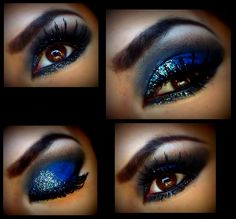 GLITTER SILVER AND BLACK ON DEEP BLUE  =D