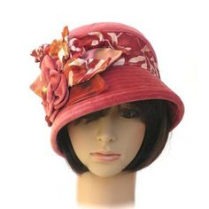 GATSBY - soft coral vintage cotton velvet; hand-dyed silk trims - Rosehip Hat Studio