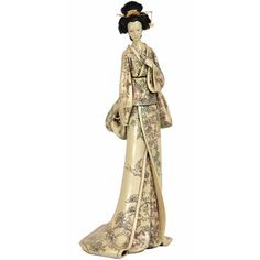 "Oriental Furniture 18"" Geisha Figurine with Flower Vine Kimono"