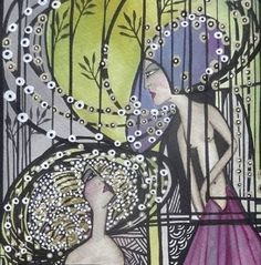 "Saatchi Art Artist Leyla Salm; Painting, ""Large Ink work in antique frame finished with gold leaf"" #art"