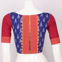 Handcrafted Ikat Cotton Blouse With Zari Edging, 3/4 Sleeve & Boat Neck 10012905 - Size 36