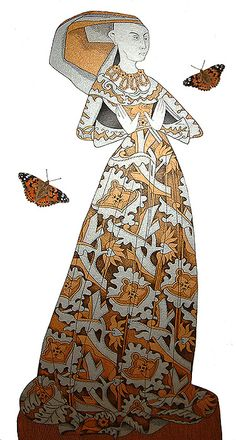 The Lace Lady with Painted Lady Butterflies. Low Cut Dresses, Butterflies, Medieval, My Arts, Canvas, Lady, Illustration, Painting, Inspiration