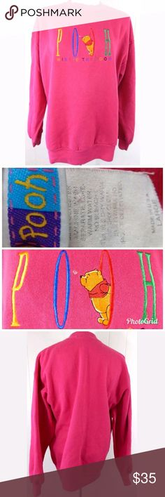 """Disney Winnie the Pooh Vintage 90's Sweatshirt Vintage Disney's Winnie the Pooh embroidered spellout sweatshirt from the 90's. Gently loved with minor pilling. Size large, 46"""" bust and 27"""" length. No trades. Disney Tops Sweatshirts & Hoodies"""