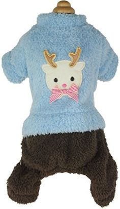 Kaver All-In-One Dog Cat Clothes Apparel Deer 6 X-Large Blue