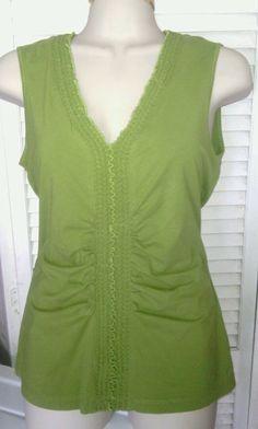 Women's HUGO BOSS top SZ S green sleeveless stretch designer shirt blouse VGUC #HugoBoss #TankCami #Casual