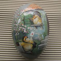 Vintage Germany Papier Paper Mache Egg Container Box Decoration