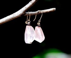 Faceted Rose Quartz Drop Earrings in Gold Filled Wire with a Garnet Bead. Pink Earrings. Crystal Stone Jewelry.  http://www.amazon.com/dp/B015HWE4WU