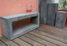 meuble-beton-ciré Console Design, Potted Plants, Plant Pots, Concrete, Diy Projects, Shelves, Outdoor Furniture, Wood, Boutiques
