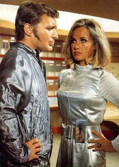 Derren Nesbitt as Colonel Craig Collins, and Wanda Ventham (mum of Benedict Cumberbatch) as Colonel Virginia Lake, in Gerry Anderson's science fiction series 'UFO' ~ Season 1, Episode 16: 'The Man Who Came Back' [originally aired 3 February 1971]
