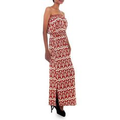 NOVICA Handcrafted Women's Batik Patterned Maxi Dress ($63) ❤ liked on Polyvore featuring dresses, clothing & accessories, long, red, viscose maxi dress, red dress, print dresses, rayon maxi dress and strapless long dresses
