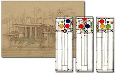 The Avery Coonley Playhouse stained glass window design by Frank Lloyd Wright, 1912